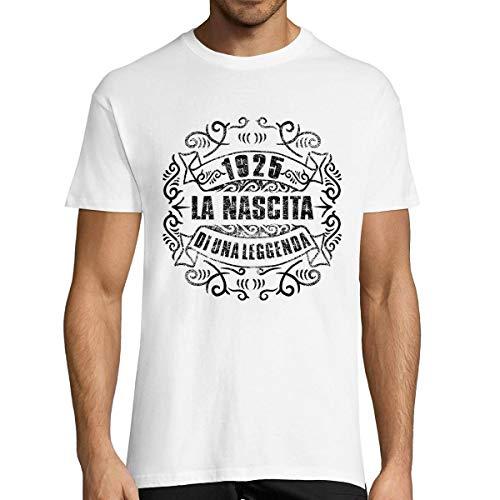 Planetee 1925 La Nascita du Una Leggenda |T-Shirt Bianca Uomo Collection Compleanno |Maglietta Umoristica XXL