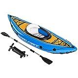 XIAOHUA-UK Kayak con Asiento para Tablas de Remo, Bote de Goma Inflable, Juego de Bote para 1 Persona con remos + inflador
