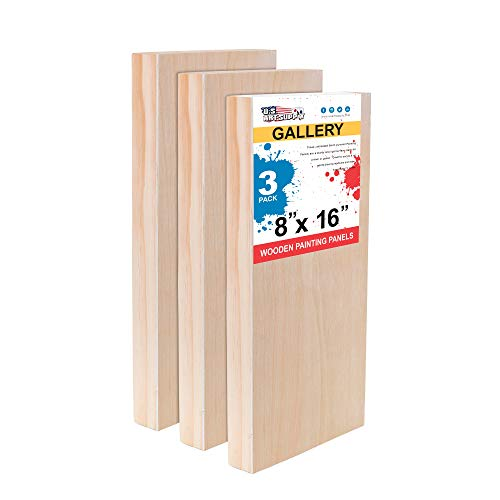 """U.S. Art Supply 8"""" x 16"""" Birch Wood Paint Pouring Panel Boards, Gallery 1-1/2"""" Deep Cradle (Pack of 3) - Artist Depth Wooden Wall Canvases - Painting Mixed-Media Craft, Acrylic, Oil, Encaustic"""
