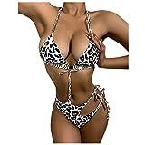 XIUXIU Women's Leopard Bikini Tube Top Sexy Strappy Bikini Swimsuit