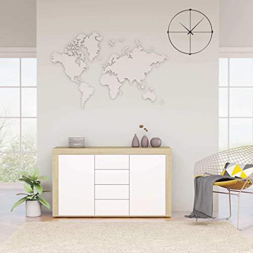vidaXL Aparador Muebles de Cajones Almacenaje Buffet para Salón Comedor Dormitorio Casa Oficina Hogar de Aglomerado Blanco y Roble Sonoma 120x36x69 cm