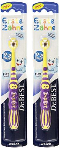 Dr.BEST Erste Zähne Handzahnbürste für Babys von 0-2 Jahren, Erreicht jedes Zähnchen rundum, weich, 1 Stück