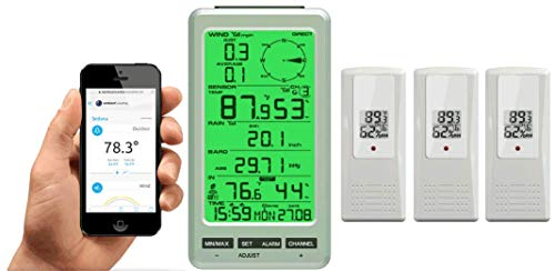 Ambient Weather WS-50-F007TH-X3 WiFi Smart Weather Station Receiver w/ 3 Outdoor Thermo-Hygrometers