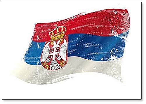 Serbische Flagge, klassischer Kühlschrankmagnet