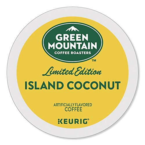 Green Mountain Coffee Roasters Island Coconut, Single-Serve Keurig K-Cup Pods, Flavored Light Roast Coffee, 96 Count