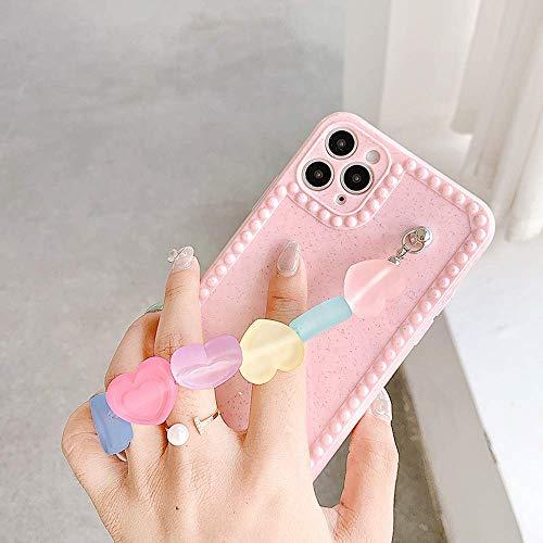 ZYZYB Cubierta de la Caja del teléfono de la Pulsera del Caramelo Colorido del INS para el iPhone 12 11 Pro XS MAX Plus (For iPhone12mimi,Pink)