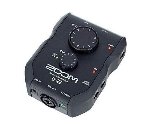 ZOOM U-22Interfaccia audio portatile per pc, mac e ipad, Nero