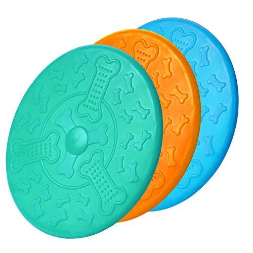 Frisbee de caucho natural para perros, 18 cm, juguete de entrenamiento duradero, disco de frisbee perfecto para perros, lanzar, entrenamiento de perros, jugar y atrapar (3 unidades)