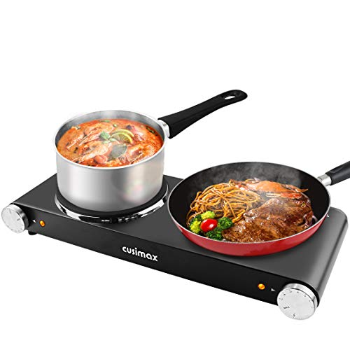 CUSIMAX 900W+900W Double Hot Plates, Cast Iron hot plates, Electric Cooktop, Hot Plates for Cooking Portable Electric Double Burner, Black Stainless Steel Countertop Burner, Easy to Clean-Upgraded Version