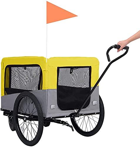 WSVULLD Trailer for Bici da Pet 2 in 1, Passeggino da Jogging, Carrier for Bici for Cani for Animali Domestici Giallo Grigio Giallo Grigio 14,05 kg (Color : Yellow Grey, Size : 14.05 kg)