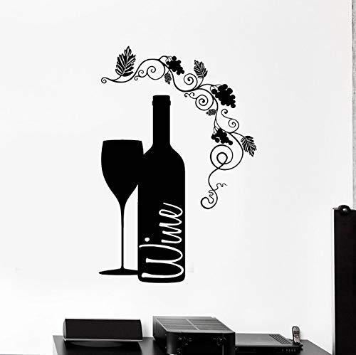 Calcomanía De Pared De Vino Cáliz Botella De Vidrio Vino Bar Fino Bodega Decoración Interior Del Hogar Vinilo Etiqueta De La Ventana Flor Arte Mural 42X62 Cm