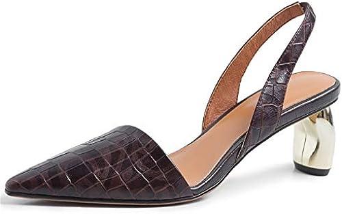 HommesGLTX Talon Aiguille Talons Hauts Sandales Femmes élégantes élégantes Talons Hauts Printemps été en Cuir Véritable Chaussures Femme Pointu Toe Bureau Pompes Les Les dames Sandales Pompes  marques en ligne pas cher vente