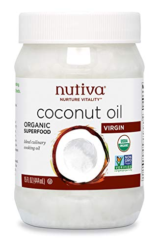 Nutiva Organic Cold-Pressed Virgin Coconut Oil, 15 Fluid Ounce | USDA Organic, Non-GMO, Fair Trade | Vegan, Keto, Paleo | Fresh Coconut Flavor and Aroma for Cooking & Healthy Skin and Hair