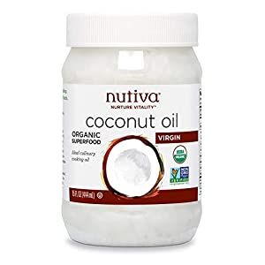 Nutiva Organic Cold-Pressed Virgin Coconut Oil, 15 Fluid Ounce | USDA Organic, Non-GMO, Fair Trade | Vegan, Keto, Paleo… |