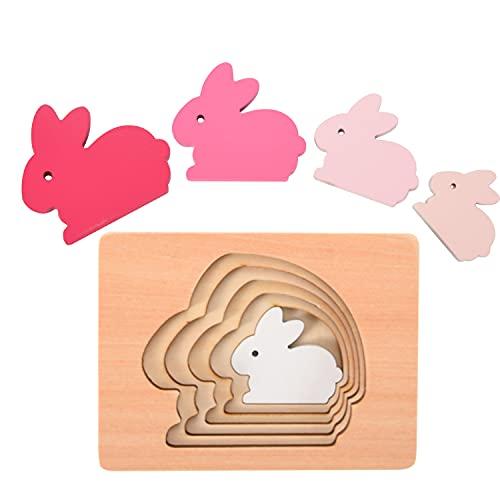 Herefun Holz Steckpuzzle, 5 Schichte Holzpuzzle mit Vertiefungen aus Holz, Tier-Puzzle Babyspielzeug, Stapelspiel Montessori Spielzeug Weihnachten Geburtstag Geschenk für Baby Kinder (Hase)