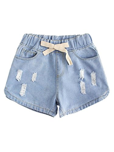 WDIRA Women's Drawstring Waist Ripped Mid Waist Loose Casual Denim...