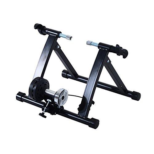 HOMCOM - Rodillo entrenamiento bicicleta color negro acero cicloentrenador bici con Cable de Resistencia 5