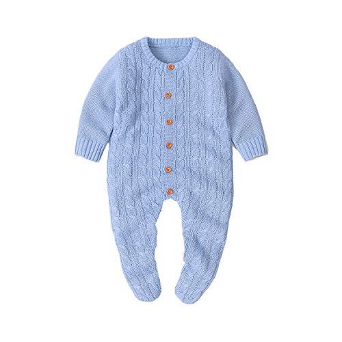 Baby Footies Strick-Strampler Jumpsuit Langarm Solid Strick Outwear Winter Outfits Gr. 6-12 Monate, hellblau