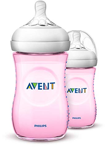 Philips Avent Lot de 2 biberons anti-coliques à large goulot Natural, SCF034/27, 260 ml, plastique, dès 1M biberon, rose