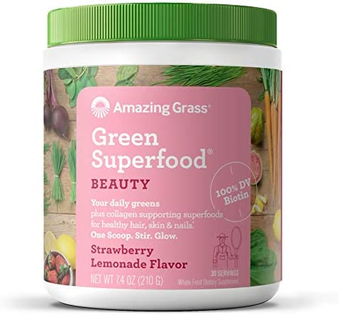 Amazing Grass Green Superfood Beauty Greens Powder with Biotin Collagen Supporting Superfoods product image