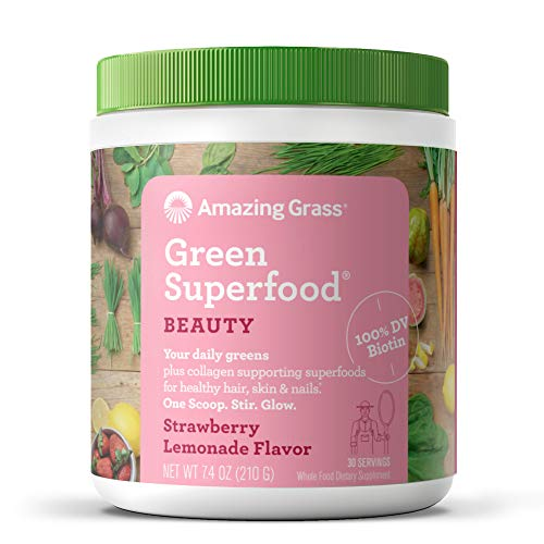 Amazing Grass Green Superfood Beauty: Greens Powder with Biotin & Collagen Supporting Superfoods, Strawberry Lemonade, 30 Servings