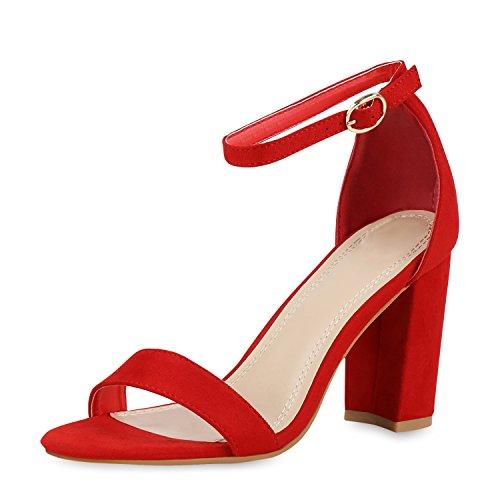 SCARPE VITA Damen Riemchensandaletten High Heels Sandaletten Basic Party Schuhe Wildleder-Optik Absatzschuhe Abendschuhe 160807 Rot Red Total 39