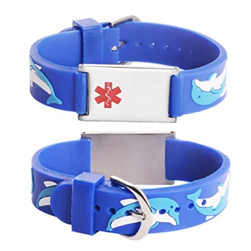 Linnalove - Pulseras de alerta médica, regalo para padres, hija, hermano, hermana, delfín 6.5 inches