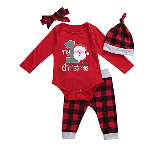 Hailouhai Neugeborenes Baby Mädchen Langarm Meine Ersten Weihnachten Outfits Strampler + Pants + Bow Stirnband + Hut Outfit Sets (6-12 Months, Weihnachtsmann)