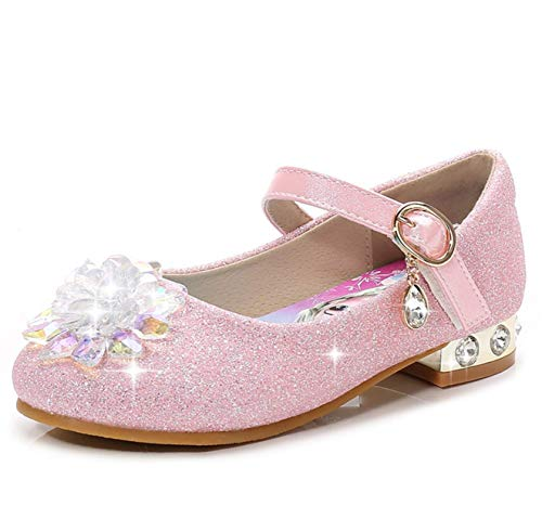 Fanessy Mädchen Prinzessin Schuhe Pailletten High Heels ELSA Kleid Schuhe Ballerina Tanzshow Schuhe Cosplay Halloween Geburtstagsfeier Klettverschluss Fantasie Kristall Schuhe Sandalen Rosa EU 25-39