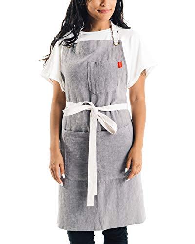 Caldo Linen Kitchen Apron - Mens and Womens Linen Bib Apron - Adjustable with Pockets (Grey)