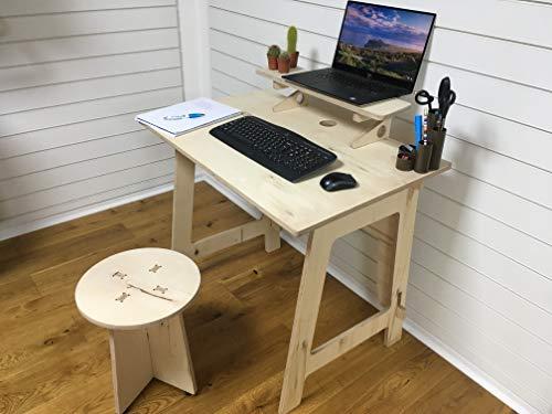 Escritorio plegable para trabajadores/estudiantes con estante y taburete, montaje sin herramientas.