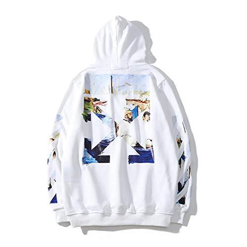 YX Hoodie Off con Capucha Caliente Suelta La Camiseta para Hombres Y Mujeres White-XXL