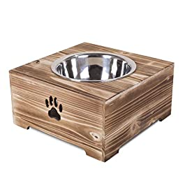 green leaves Dog Food Feeding Stand Station Stainless Double Raised Bowls Wooden Crate