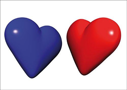Kartenkaufrausch romantische liefdeskaart met een rood en een blauw hart • ook voor direct verzenden met uw persoonlijke tekst als inlegger. • Fijne wenskaart met envelop voor liefdeswoorden