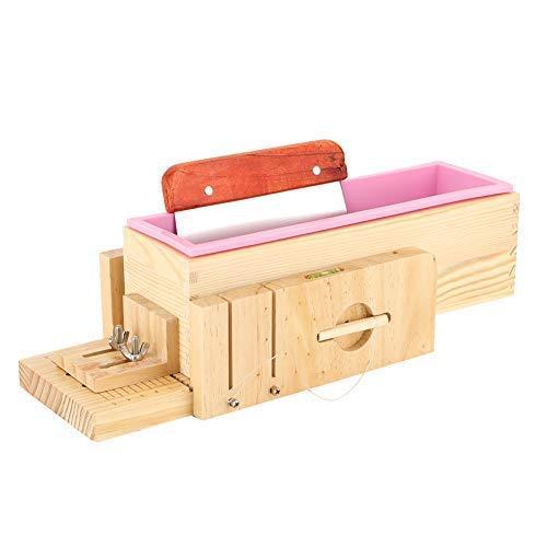 Toasts in form einer gussform,Multifunktionaler Seifenmacher Rosa Silikonfutter + Holzschale Toastform mit geradem Schaber