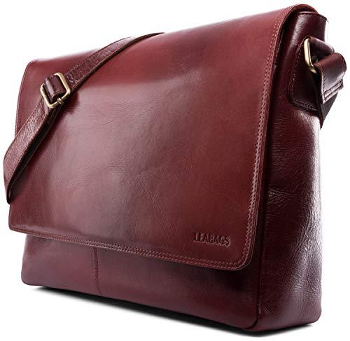 LEABAGS Oxford - Messenger Bag Briefcase Laptop Bag 13 Inch Genuine Leather - TerraRosa