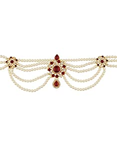 Anuradha Art Red-White Beautiful Combination Styled with Sparkling Stone & Woven with Pearl Beads Kamarpatta Waist Chain/Belly Chain for Women/Girls