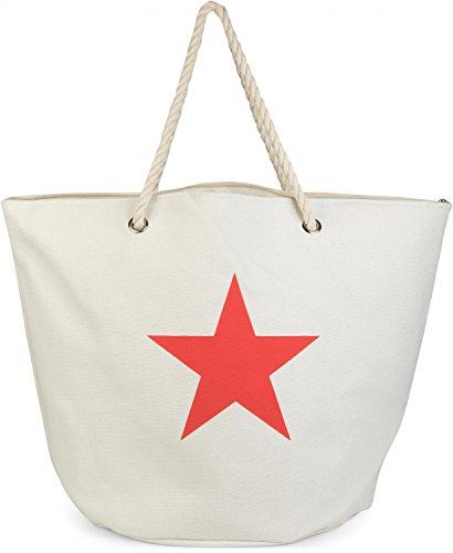 styleBREAKER große XXL Strandtasche mit Stern Print, Schultertasche, Shopper, Badetasche, Damen 02012079, Farbe:Weiß (Creme-Weiß)