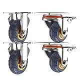 4 × Plate Casters 9363mm,3in/4in Heavy Duty Swivel Caster Wheels,Fixed,No Noise...