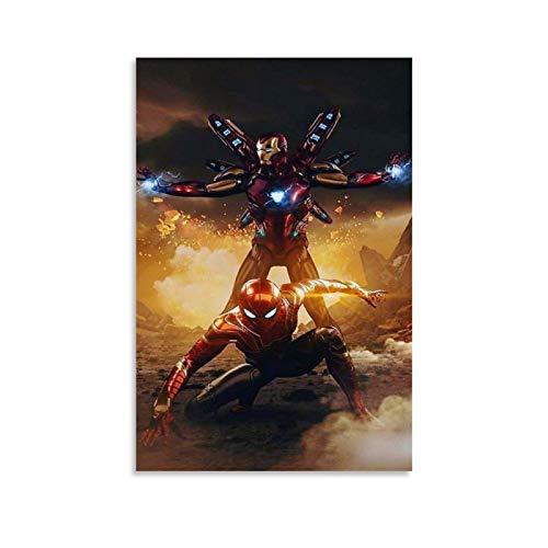 GDFG Póster decorativo de Iron Man y Spiderman Art 4K HD, lienzo para pared, sala de estar, dormitorio, 20 x 30 cm