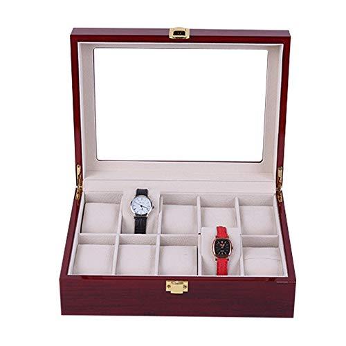HFDXG Cajas De Reloj 10 Las Rejillas de Madera de Pantalla Caja de Reloj Caja de Reloj Organizador con la Tapa de Cristal (Color : Brown, Size : 26X21.3X8.5CM)