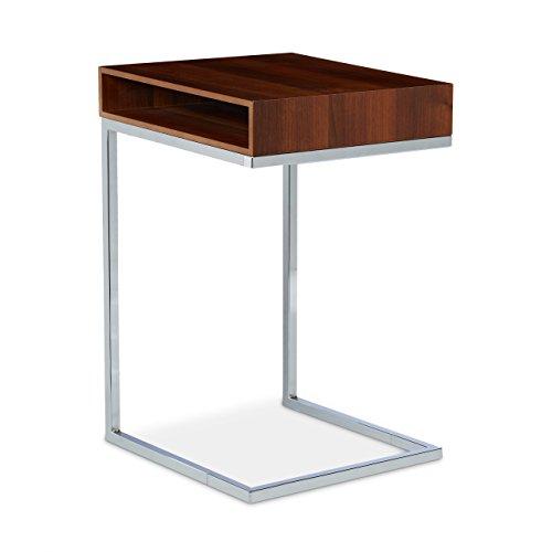 Relaxdays Table basse HxlxP: 61 x 37 x 38 cm table console table d'appoint canapé pour le salon chevet table ordinateur compartiment de rangement journaux papiers pieds en métal stables, nature