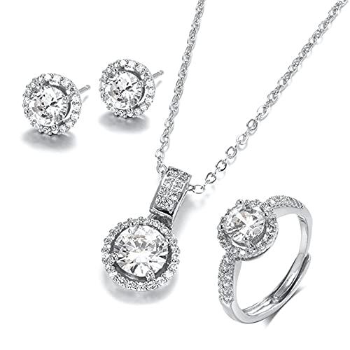 Joyas de Zircon de Oro de 18k Conjuntos de Anillo Pendiente de Collar para joyería de Novia de Novia (Gem Color : Silver Color, Ring Size : Resizable)
