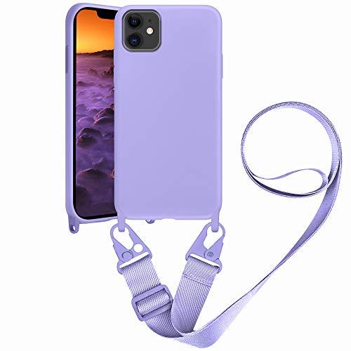 SAMCASE Handykette Hülle für iPhone 11, Necklace Hülle Nylon Schultergurt Weich Flüssiges Silikon Handyhülle mit Kordel zum Umhängen Schutzhülle mit Stylische Band, Violett
