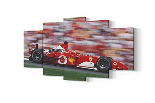 VYQDTNR Stampa su Tela Immagine di Arte della Parete 5 Pezzi Michael Schumacher Ferrari F1 Quadri Moderni Dipinti Foto per Soggiorno Camera da Letto Divano TV Sfondo Home Gym Decor