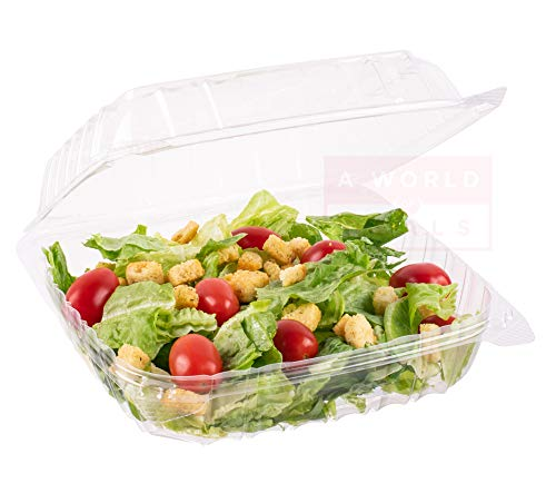 "A World Of Deals Clamshell Square Clear Hinged [50 Pack] Take-Out Plastic Salad Go Containers [Size: 8 5/16"" x 8 5/16"" x 3""]"