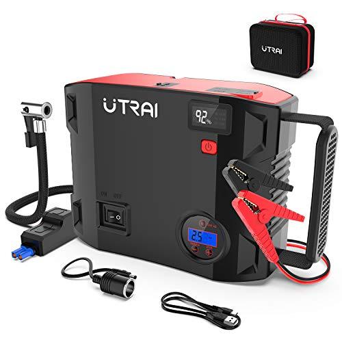 【2020最新版】UTRAI ジャンプスターター 24000mAh 一台四役 エアコンプレッサー搭載 ピーク電流2000A エンジンスターターDC/USB出力 安全保護機能 LED緊急ライト モバイルバッテリー QC3.0搭載 急速充電 8Lガソリンエンジ