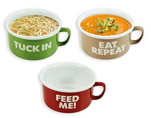 Set Of 3 Large Stoneware Soup Noodle Bowls With Handle 20oz Feed ME Tuck In Eat