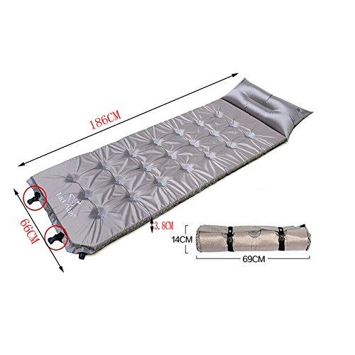 Léger Tapis de sol matelas autogonflant Pad avec taie d'oreiller, gris