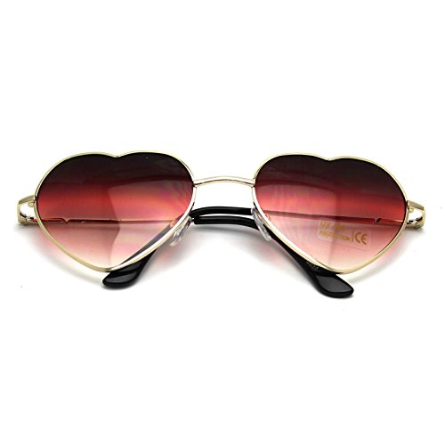 VANKER 1X de Gran tamaño Grande para Mujer de Las Gafas de Sol en Forma de corazón Lindo Manera Gafas Gafas (Rojo)